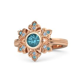 Round London Blue Topaz 14K Rose Gold Ring with Blue Topaz & London Blue Topaz