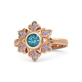 Round London Blue Topaz 14K Rose Gold Ring with Iolite & Blue Topaz