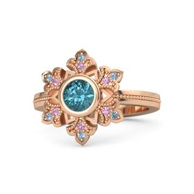 Round London Blue Topaz 14K Rose Gold Ring with Pink Tourmaline and Blue Topaz