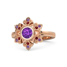 Round Amethyst 14K Rose Gold Ring with Ruby and Amethyst