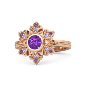 Round Amethyst 14K Rose Gold Ring with Tanzanite and Amethyst