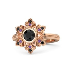 Round Black Diamond 14K Rose Gold Ring with Amethyst and Black Diamond
