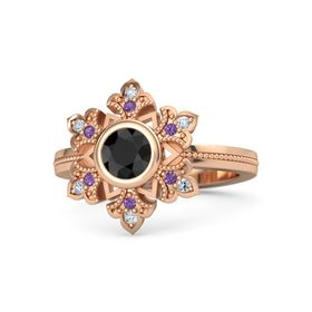 Round Black Diamond 14K Rose Gold Ring with Amethyst and Diamond