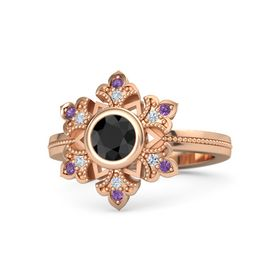 Round Black Diamond 14K Rose Gold Ring with Diamond and Amethyst
