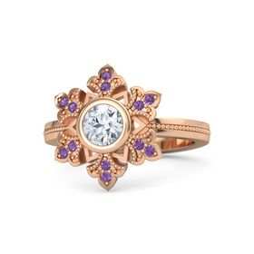 Round Diamond 14K Rose Gold Ring with Amethyst
