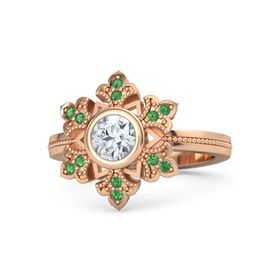 Round Diamond 14K Rose Gold Ring with Emerald