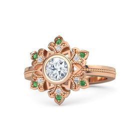 Round Diamond 14K Rose Gold Ring with White Sapphire and Emerald