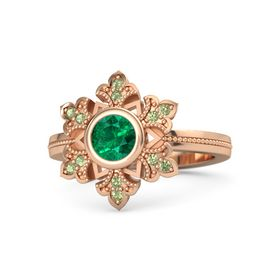 Round Emerald 14K Rose Gold Ring with Peridot