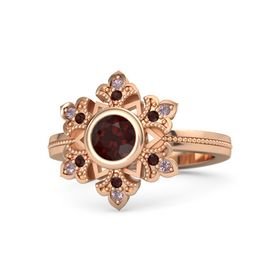 Round Red Garnet 14K Rose Gold Ring with Red Garnet & Rhodolite Garnet