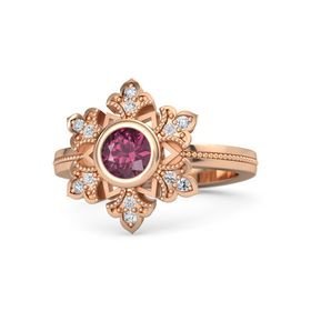 Round Rhodolite Garnet 14K Rose Gold Ring with White Sapphire and Diamond