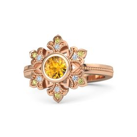 Round Citrine 14K Rose Gold Ring with Diamond and Yellow Sapphire