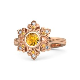 Round Citrine 14K Rose Gold Ring with Citrine & Diamond