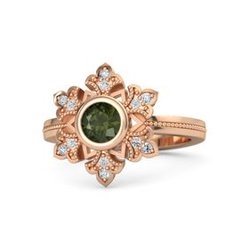 Round Green Tourmaline 14K Rose Gold Ring with White Sapphire and Diamond