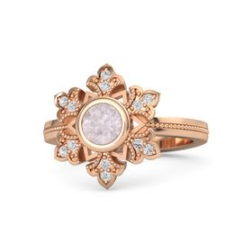 Round Rose Quartz 14K Rose Gold Ring with White Sapphire