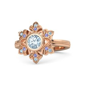 Round Aquamarine 14K Rose Gold Ring with Iolite and Aquamarine