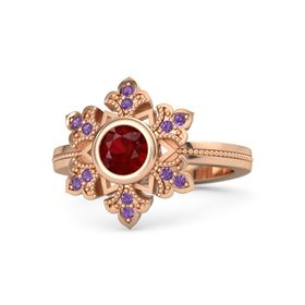 Round Ruby 14K Rose Gold Ring with Amethyst