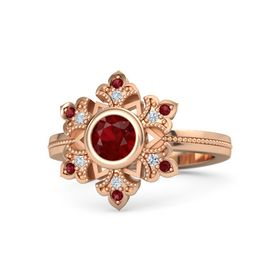 Round Ruby 14K Rose Gold Ring with Diamond and Ruby