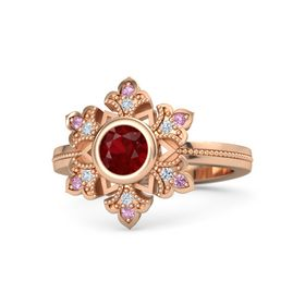 Round Ruby 14K Rose Gold Ring with Diamond and Pink Tourmaline