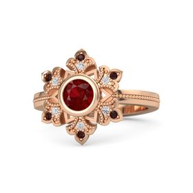 Round Ruby 14K Rose Gold Ring with White Sapphire and Red Garnet