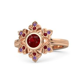 Round Ruby 14K Rose Gold Ring with Ruby and Amethyst
