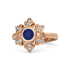 Round Sapphire 14K Rose Gold Ring with Aquamarine
