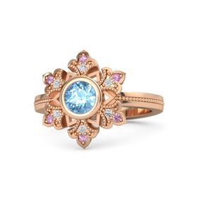 Round Blue Topaz 14K Rose Gold Ring with White Sapphire & Pink Tourmaline