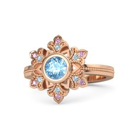 Round Blue Topaz 14K Rose Gold Ring with Aquamarine and Pink Sapphire