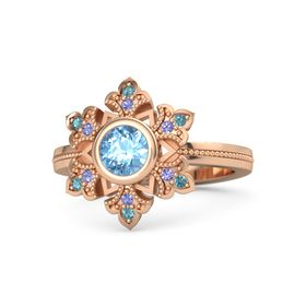 Round Blue Topaz 14K Rose Gold Ring with Iolite & London Blue Topaz
