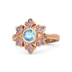 Round Blue Topaz 14K Rose Gold Ring with Pink Tourmaline & Iolite