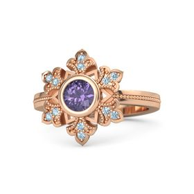 Round Iolite 14K Rose Gold Ring with Aquamarine