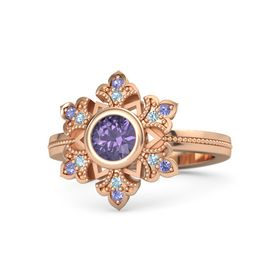 Round Iolite 14K Rose Gold Ring with Aquamarine and Iolite