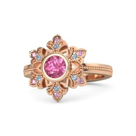 Round Pink Tourmaline 14K Rose Gold Ring with Blue Topaz and Pink Sapphire
