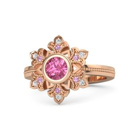 Round Pink Tourmaline 14K Rose Gold Ring with Pink Tourmaline and White Sapphire