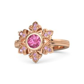 Round Pink Tourmaline 14K Rose Gold Ring with Pink Tourmaline and Pink Sapphire
