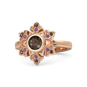 Round Smoky Quartz 14K Rose Gold Ring with Amethyst & Smoky Quartz
