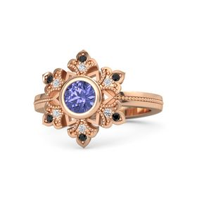 Round Tanzanite 14K Rose Gold Ring with White Sapphire and Black Diamond