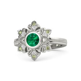 Round Emerald 14K White Gold Ring with White Sapphire & Peridot