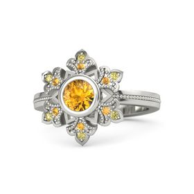 Round Citrine 14K White Gold Ring with Citrine & Yellow Sapphire