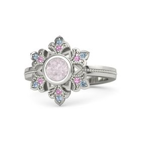 Round Rose Quartz 14K White Gold Ring with Pink Tourmaline and Blue Topaz