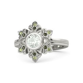 Round Green Amethyst 14K White Gold Ring with Green Tourmaline and Peridot