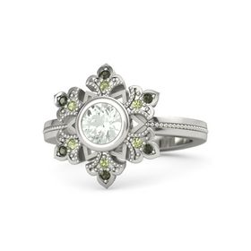 Round Green Amethyst 14K White Gold Ring with Peridot & Green Tourmaline