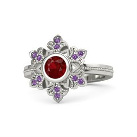 Round Ruby 14K White Gold Ring with Amethyst