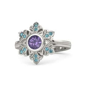 Round Iolite 14K White Gold Ring with London Blue Topaz