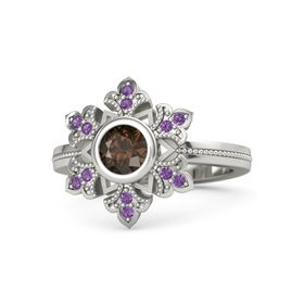 Round Smoky Quartz 14K White Gold Ring with Amethyst