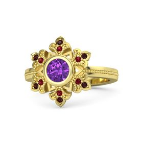 Round Amethyst 14K Yellow Gold Ring with Ruby and Red Garnet
