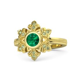 Round Emerald 14K Yellow Gold Ring with Peridot