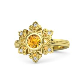 Round Citrine 14K Yellow Gold Ring with Citrine and White Sapphire