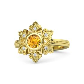 Round Citrine 14K Yellow Gold Ring with White Sapphire & Yellow Sapphire