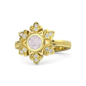 Round Rose Quartz 14K Yellow Gold Ring with White Sapphire