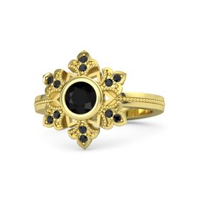Round Black Onyx 14K Yellow Gold Ring with Black Diamond